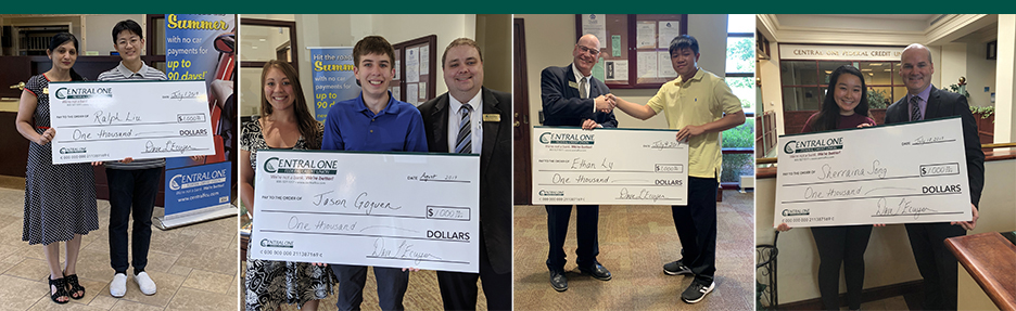 Pictures of the four 2019 COFCU scholarship winners being presented with big checks