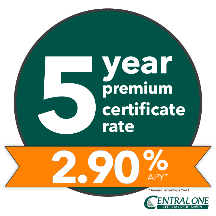5 year premium certificate rate 2.90%APY